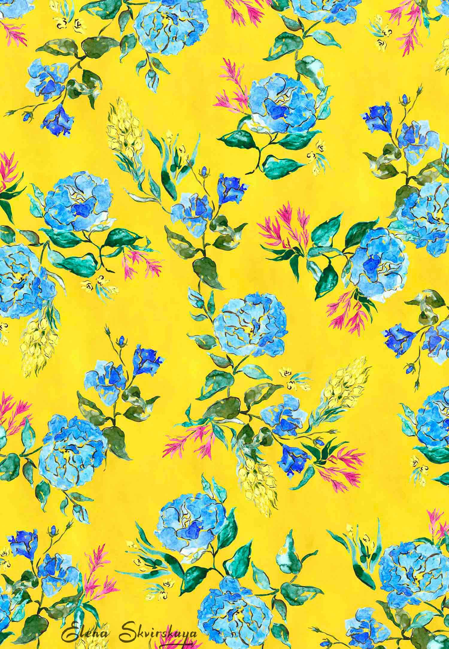watercolor floral print, bold, contemporary