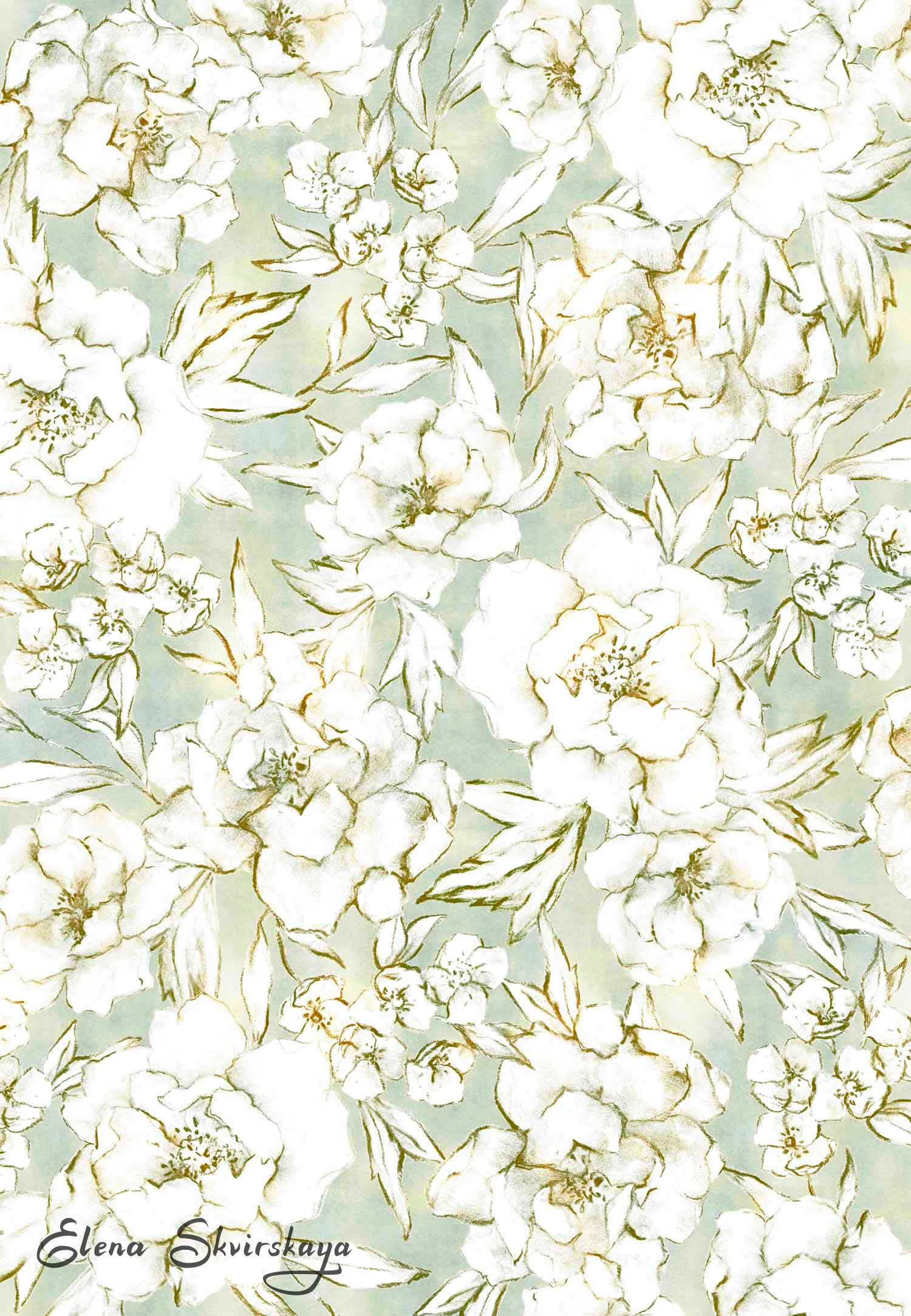 soft floral print for interior design, wallpaper, fabric