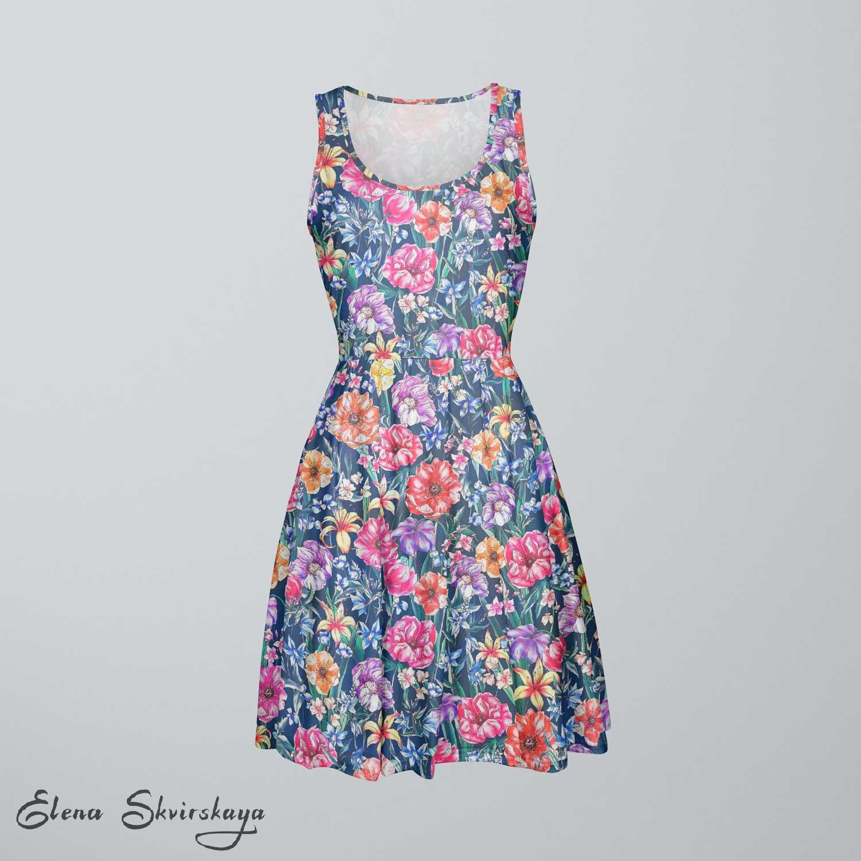 field of flowers design on a dress, mock-up
