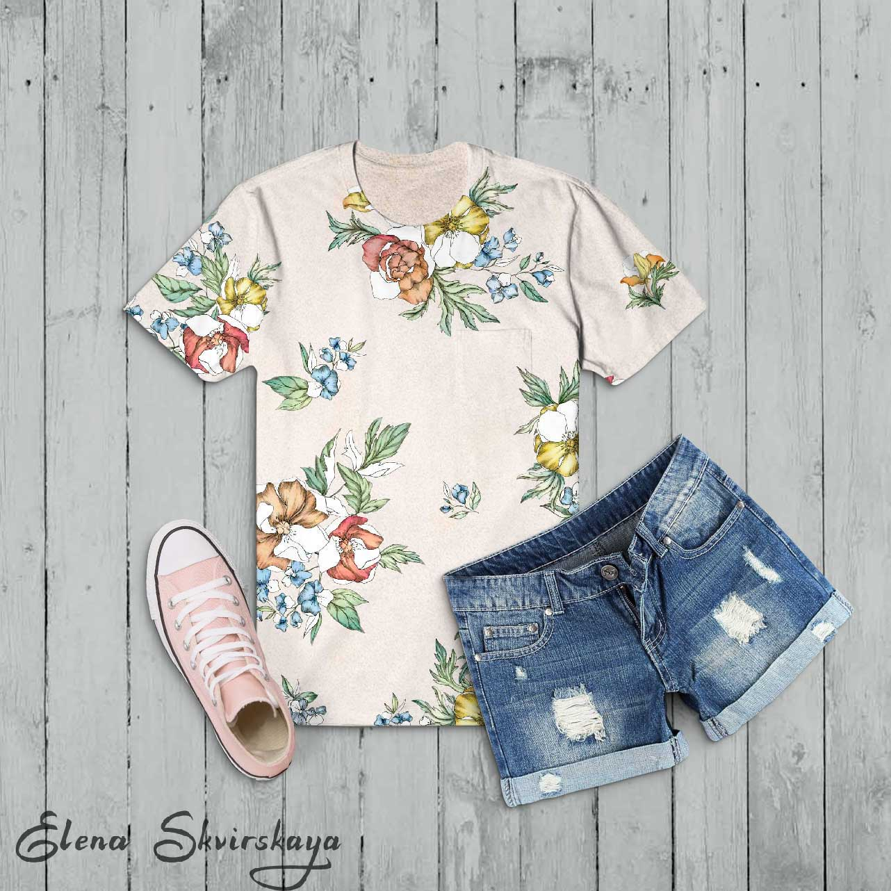floral design on a t-shirt, unfinished floral style, mock-up