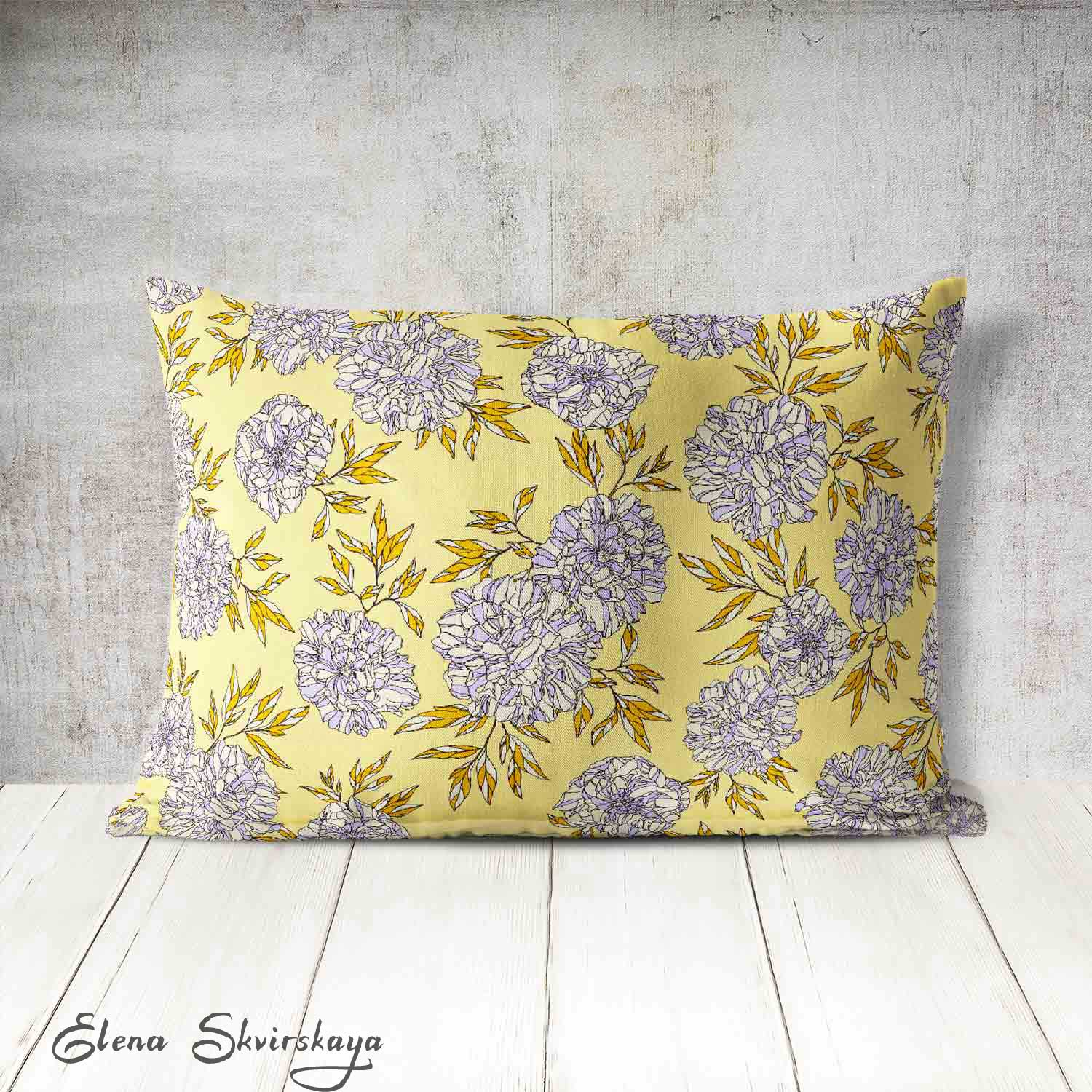 mock-up of an illustration style floral on a cushion, home decor