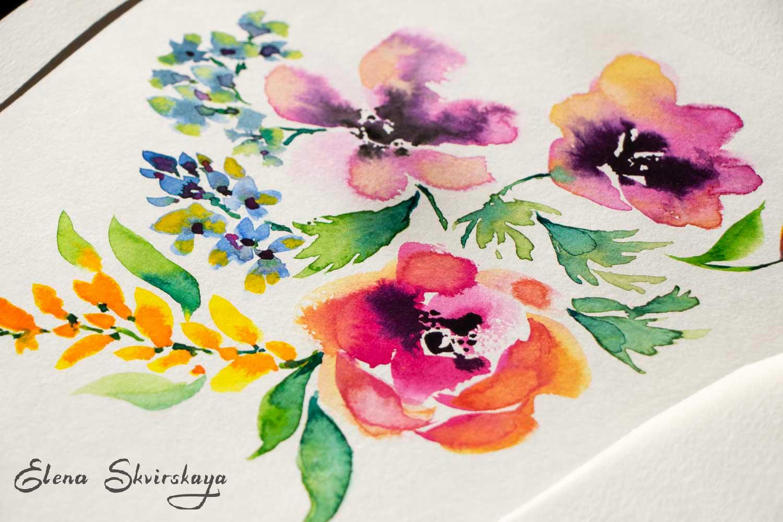 floral arrangement, watercolor on paper