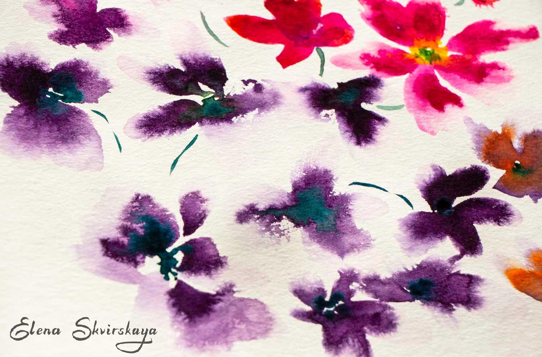 flowers, watercolor on paper, loose technique