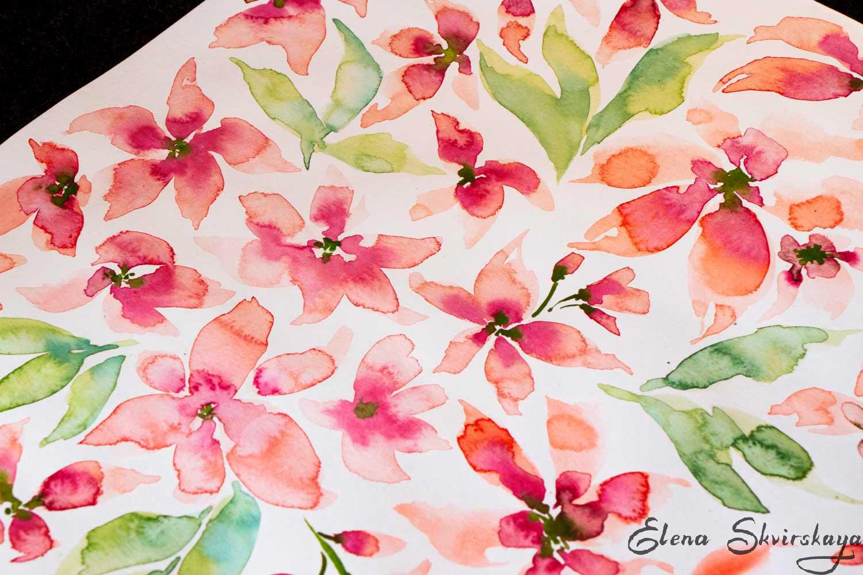 watercolor sketch, ditsy flowers