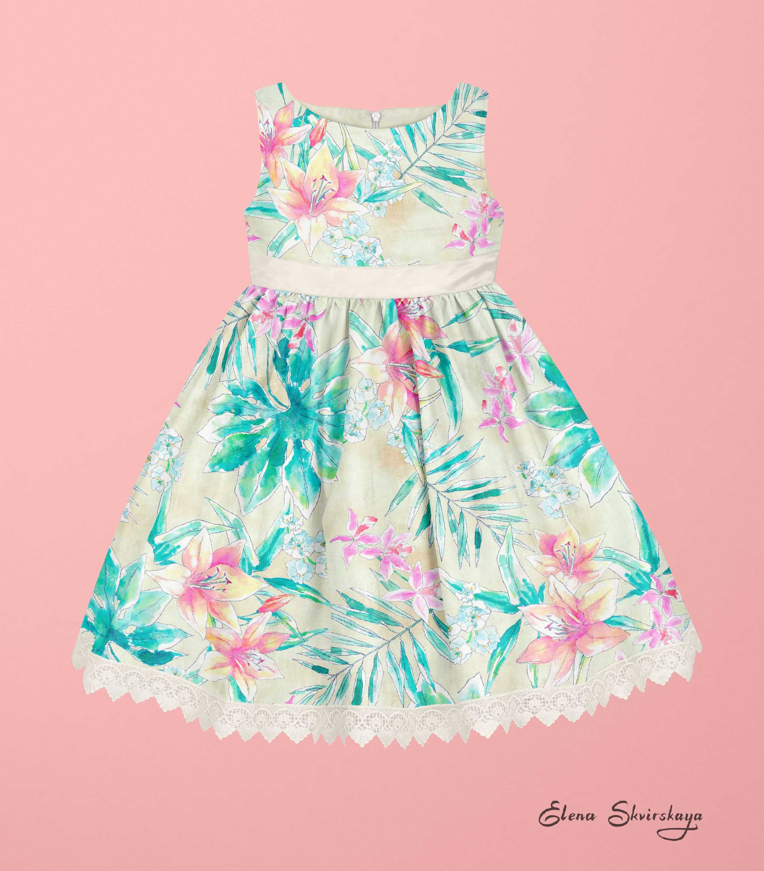 mock-up of a tropical watercolor print on a girl's dress, lilies, palm leaves