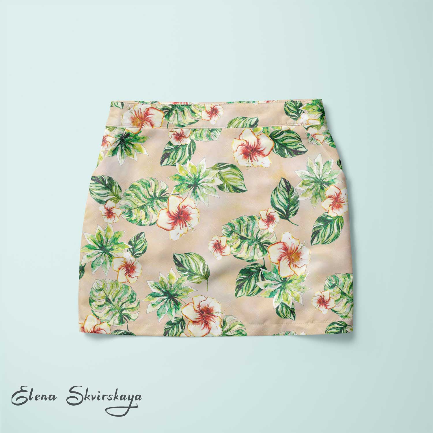 tropical print on a skirt, hibiscus, palm leaves, mock-up