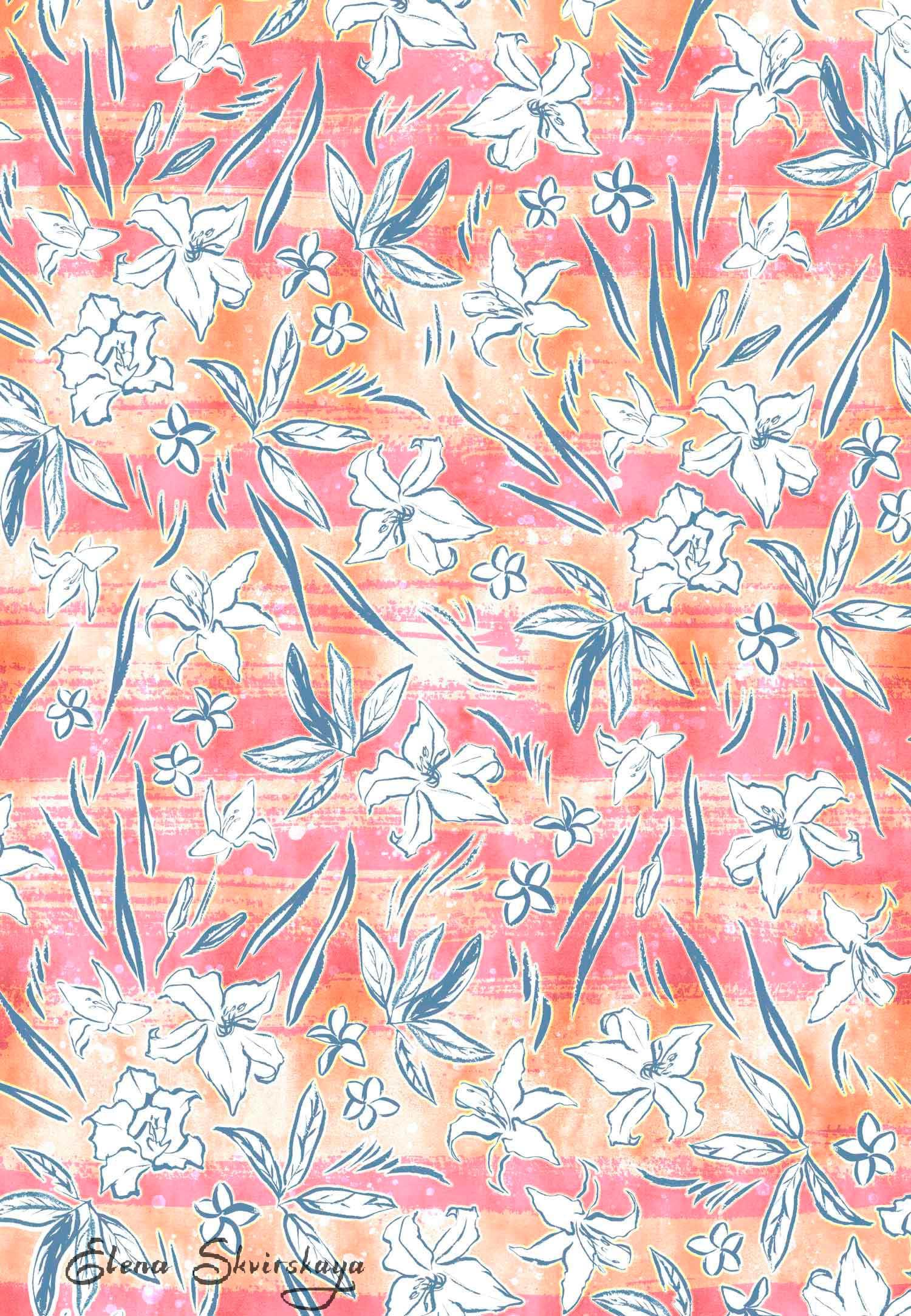 tropical textile design, apparel