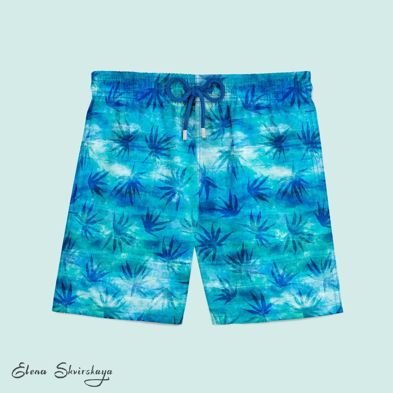 palm textural print for men's swimwear, mock-up