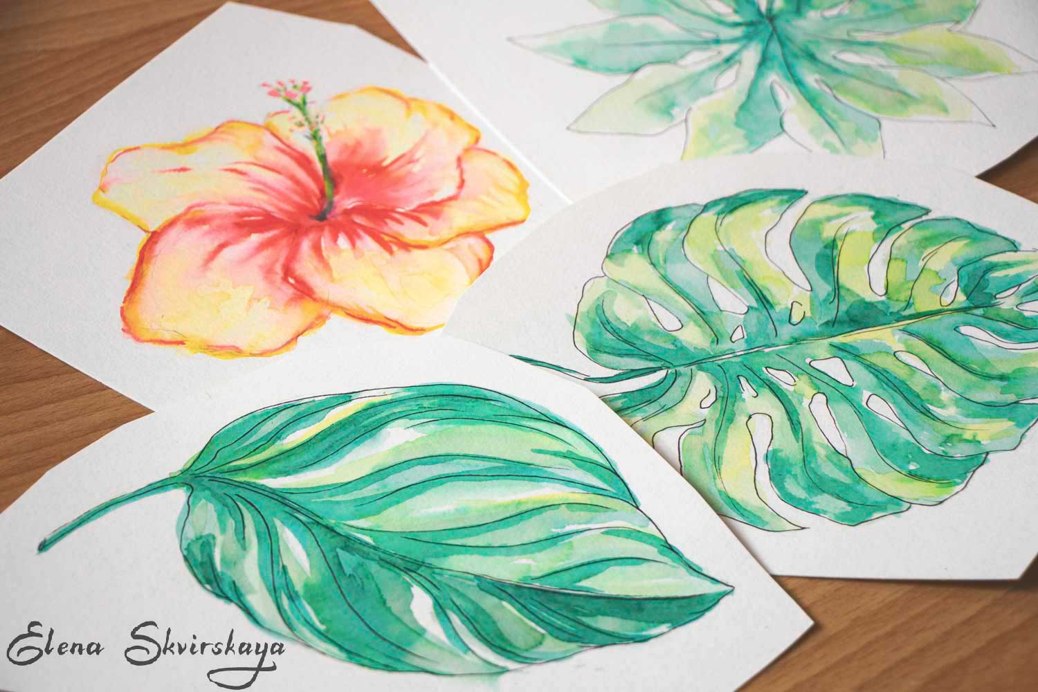 watercolor tropical flowers and leaves, sketches for a textile print, to be assembled later in Photoshop