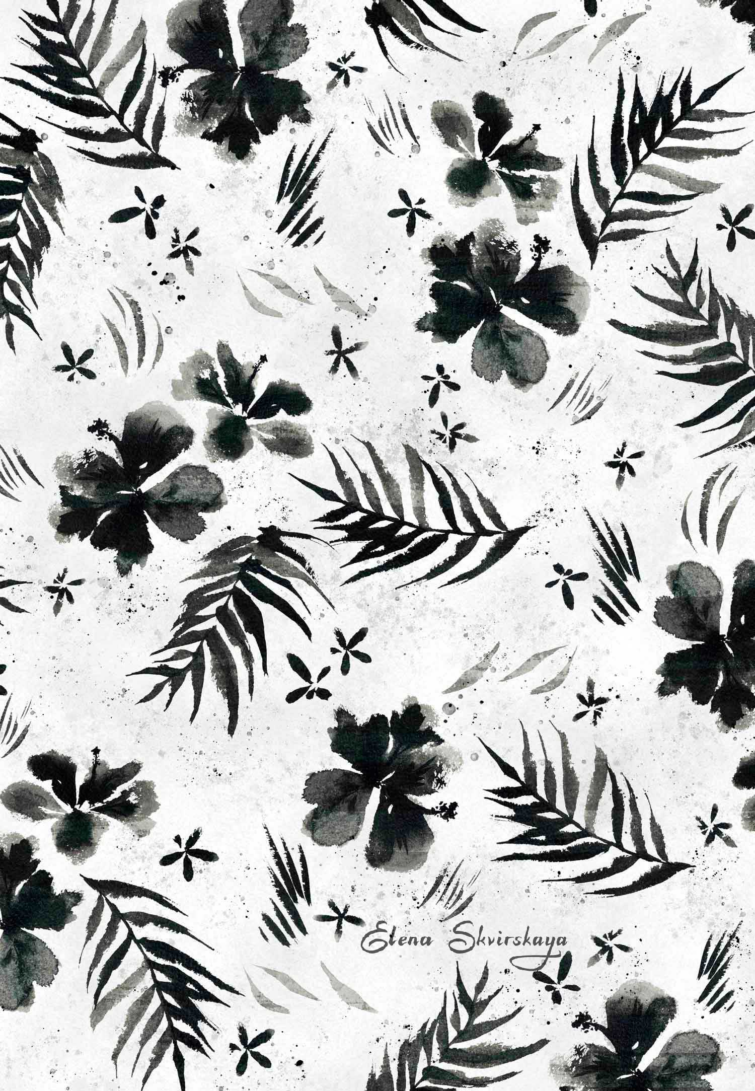 black and white tropical print, sumi-e brush, ink, fashion apparel