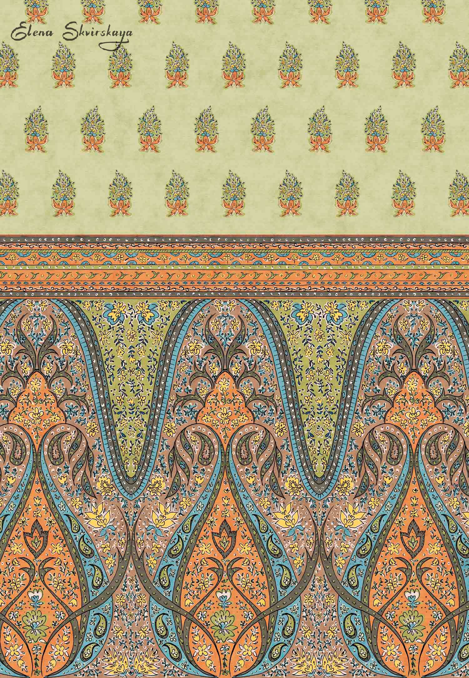 hand drawn original border print, inspired by Indian paisley designs