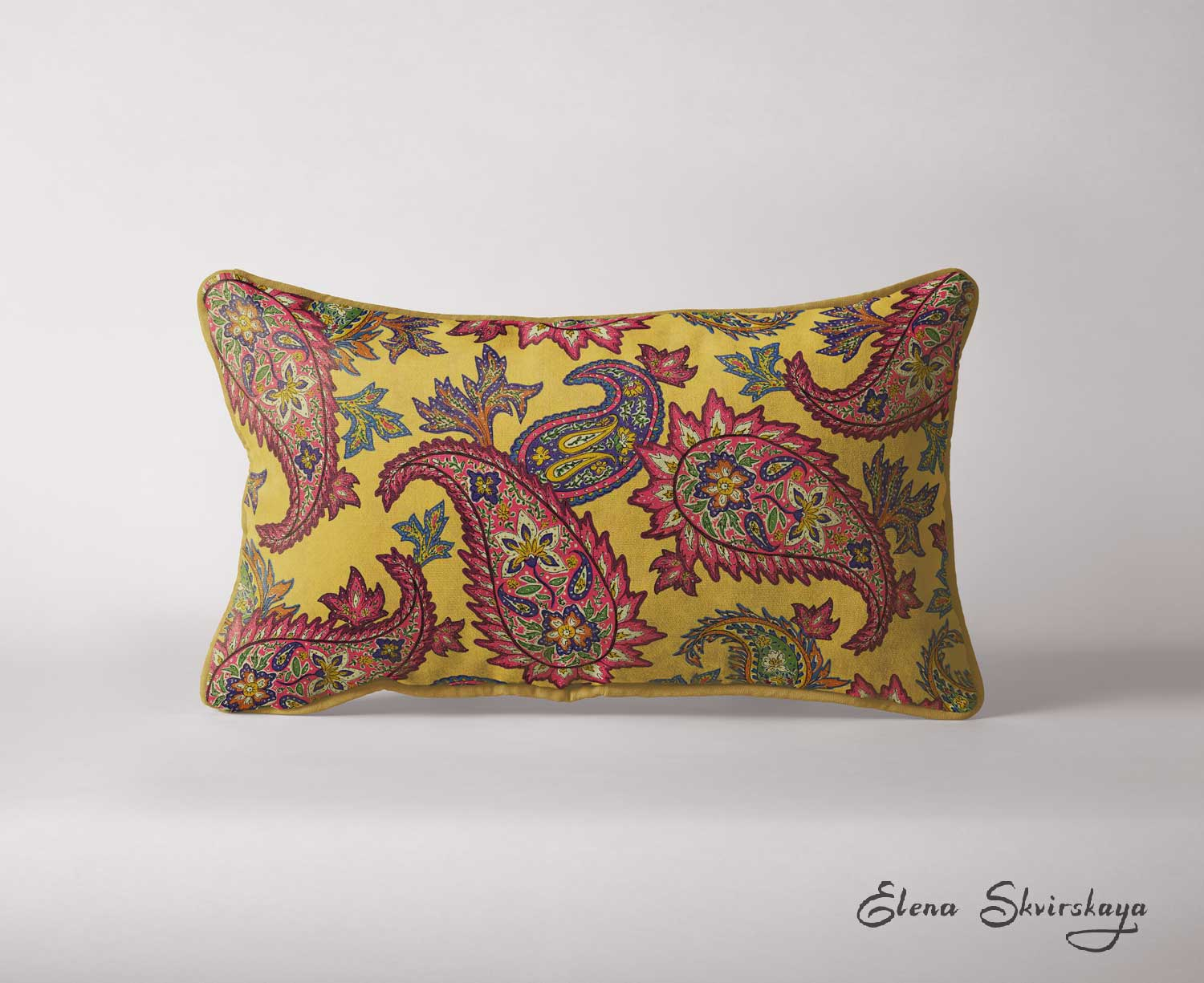 colorful paisley design on a cushion, interior decoration, home decor, mock-up