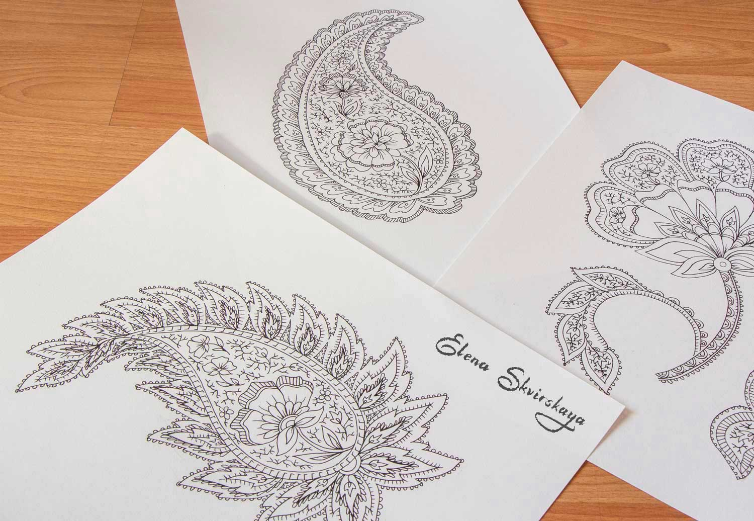 paisleys sketches for a textile design, to be scanned at high resolution and assembled in Photoshop