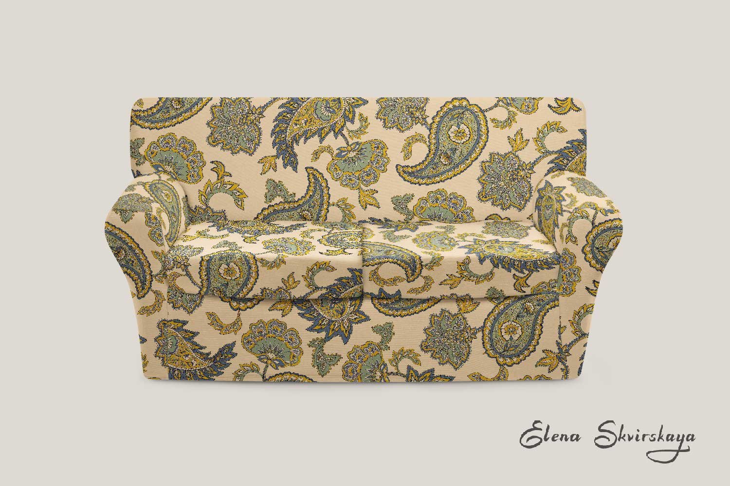 paisley design on a sofa, mock up, global inspired home