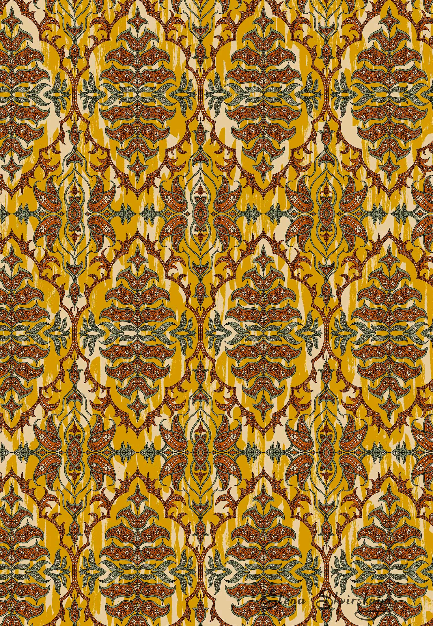 ornamental design for women's apparel or home decor, inspired by Indian paisley fabrics