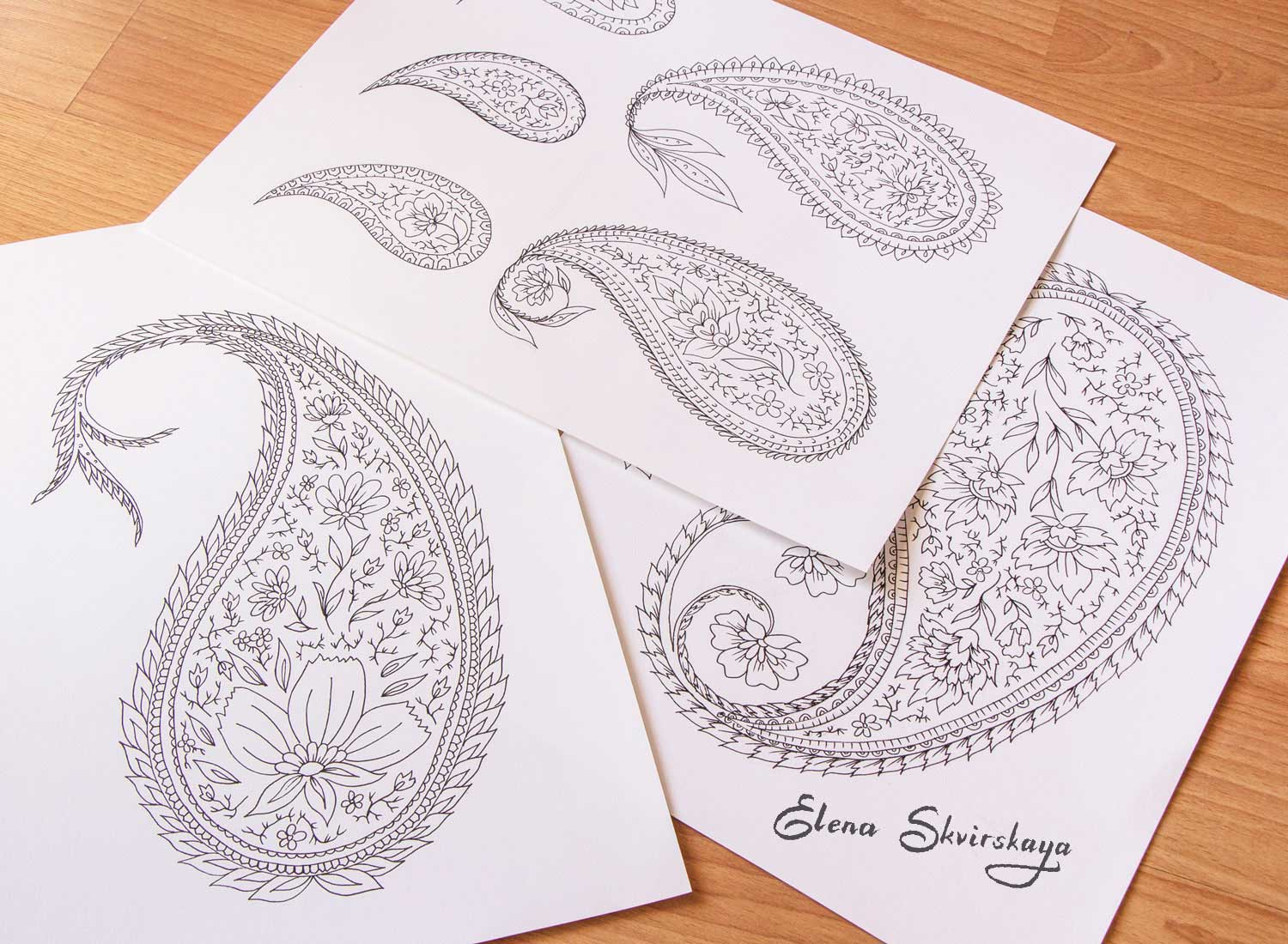 sketches of paisleys for a surface print design