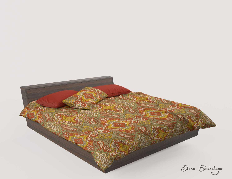 globally inspired ornamental design on bed sheets, mock up, boho bedroom