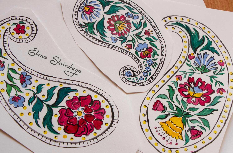 sketches of bright folk paisleys, watercolor