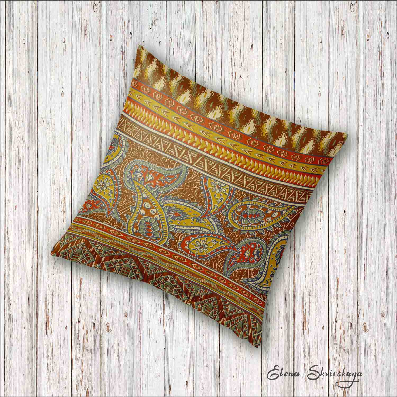 decorative paisley design on a cushion, mock up, global decor
