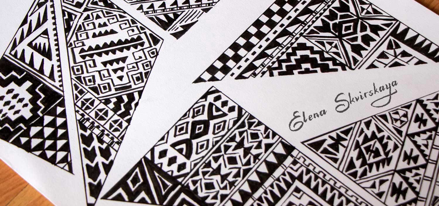 geometric ornamental sketches for a textile design, bohemian style