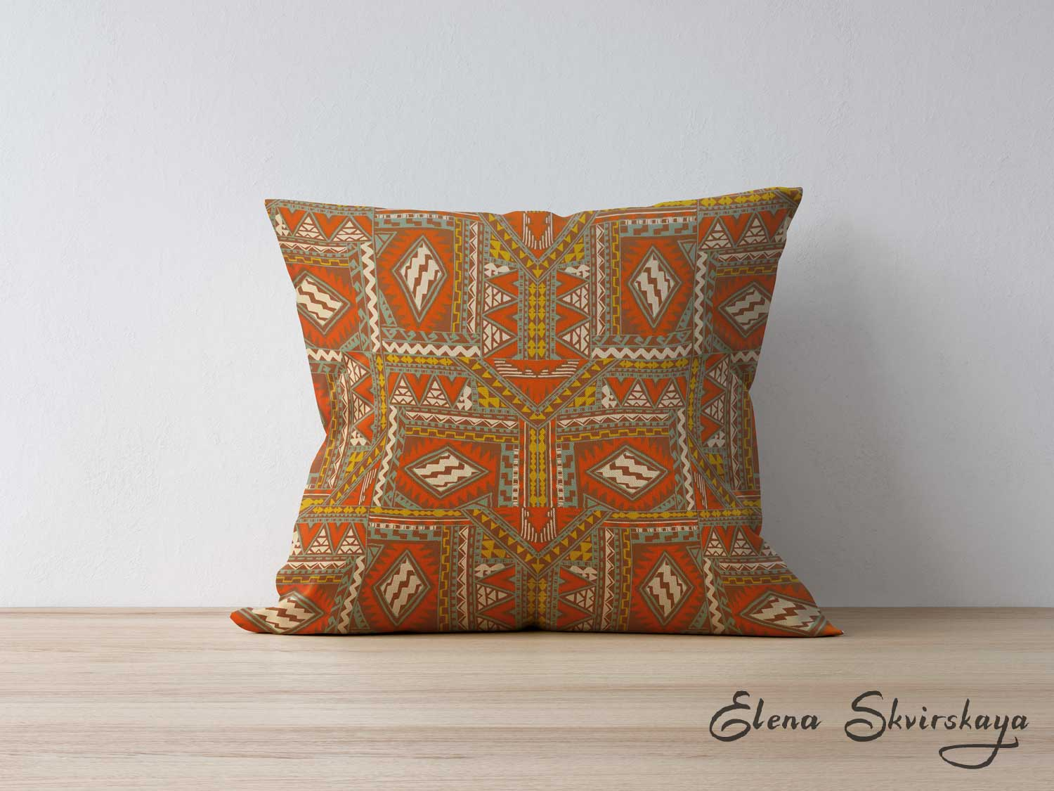 Global inspired textile design on a cushion, mock up, interior decoration