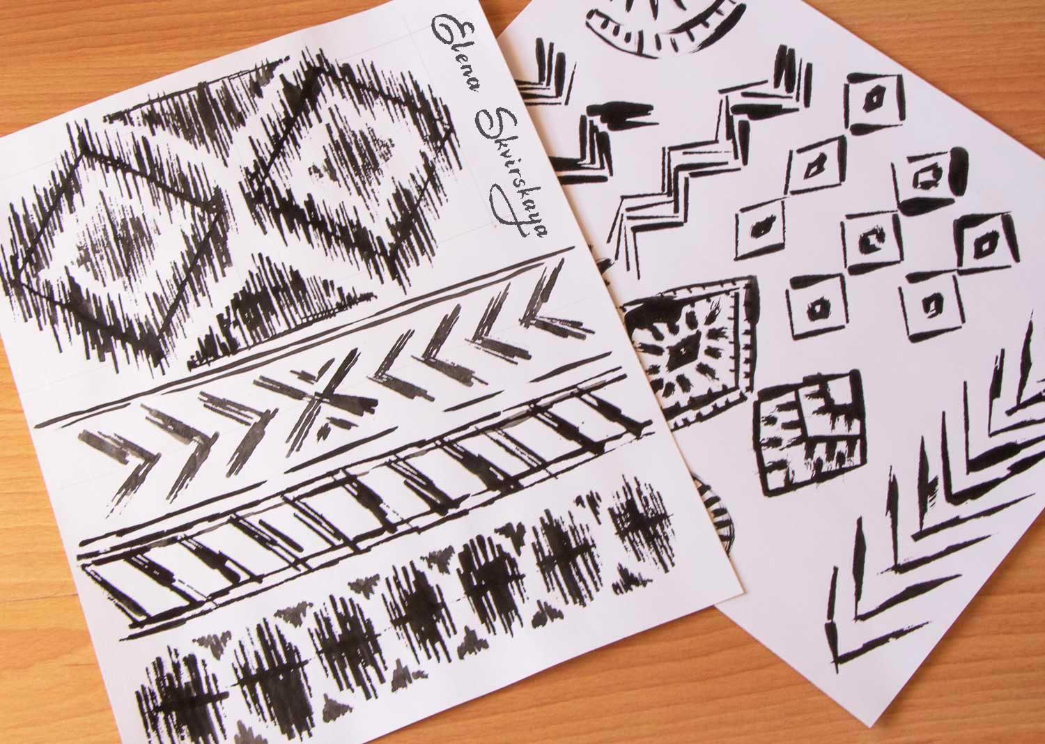 geometric sketch for an Aztec inspired textile design