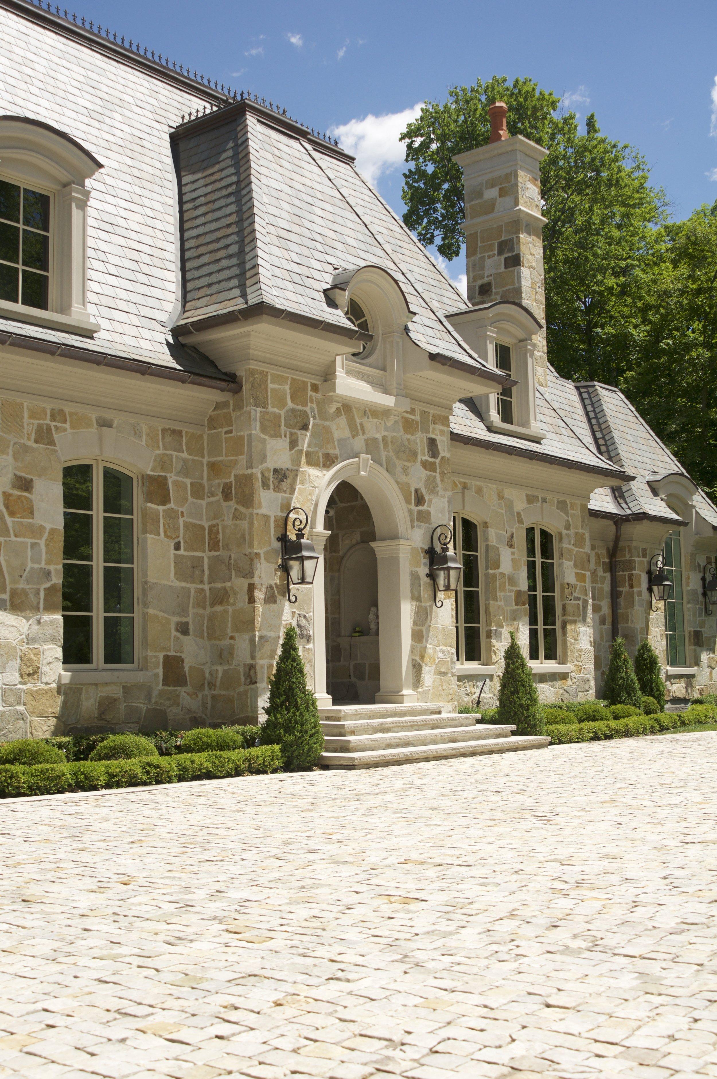 landscaping stonework cobblestone driveway custom aurora parkscape