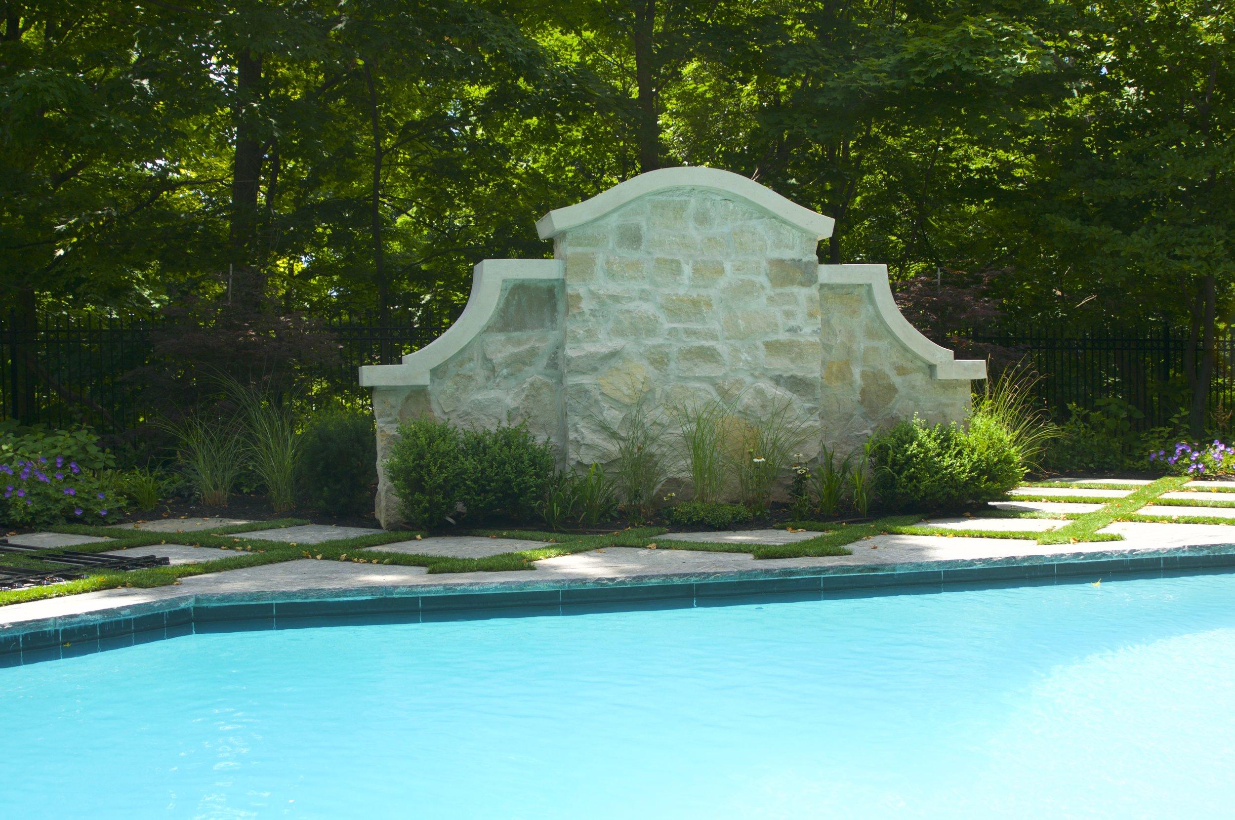 landscaping, precast copping, ornamental grasses, custom stonework, artificial turf, granite, toronto, yews, outdoor furniture, pool, trex decking, planting