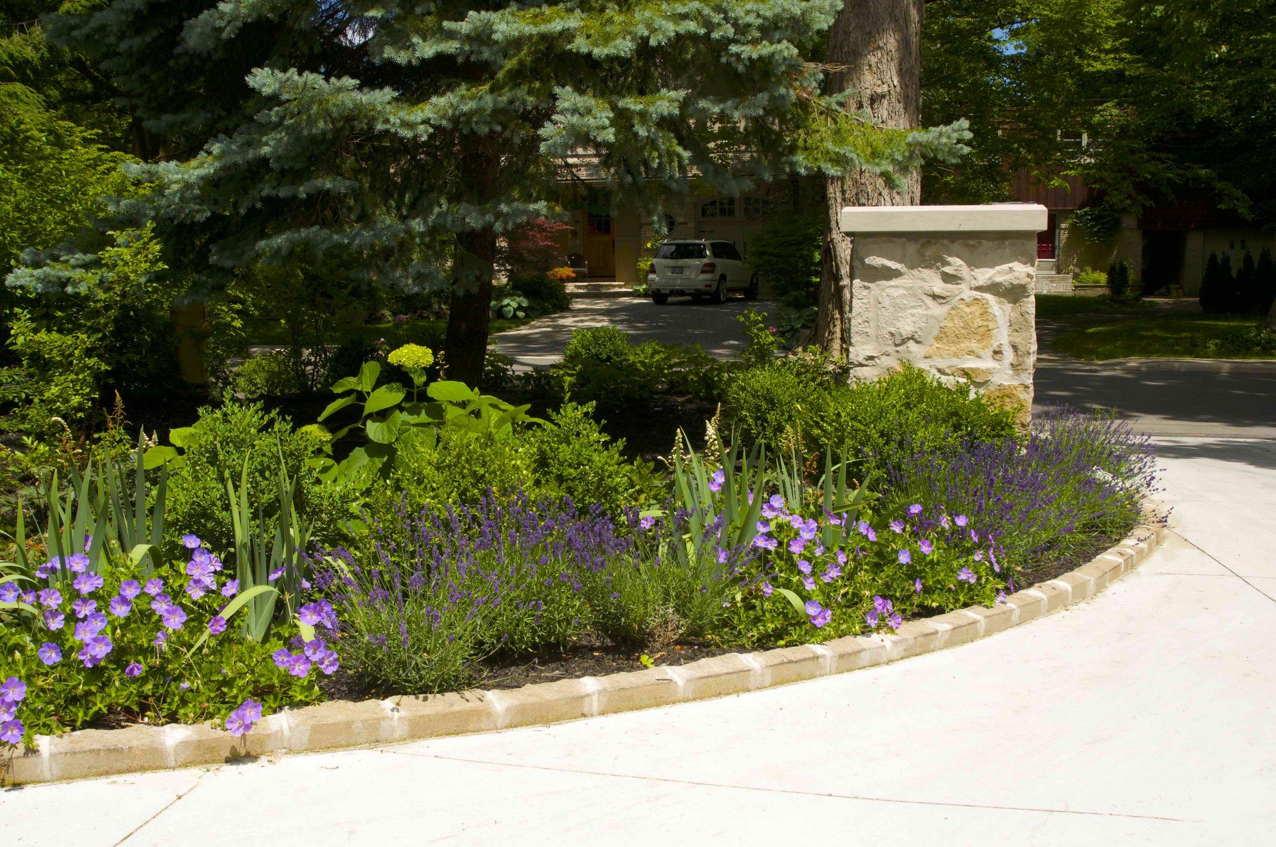 parkscpae, landscaping, custom, planting, pillar, indiana limestone, concrete driveway, toronto