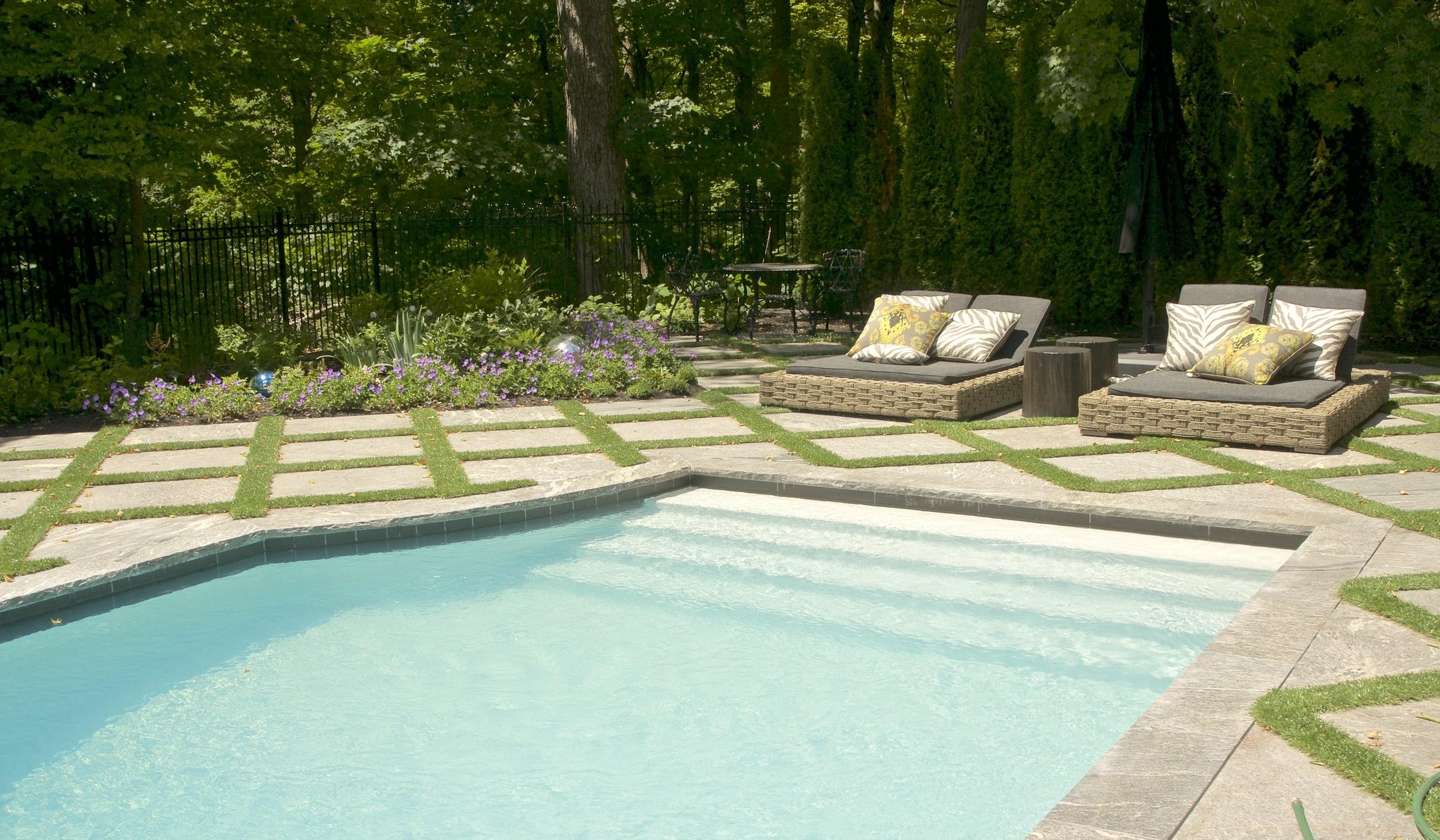 landscaping, custom stonework, artificial turf, granite, toronto, yews, outdoor furniture, pool, trex decking, planting