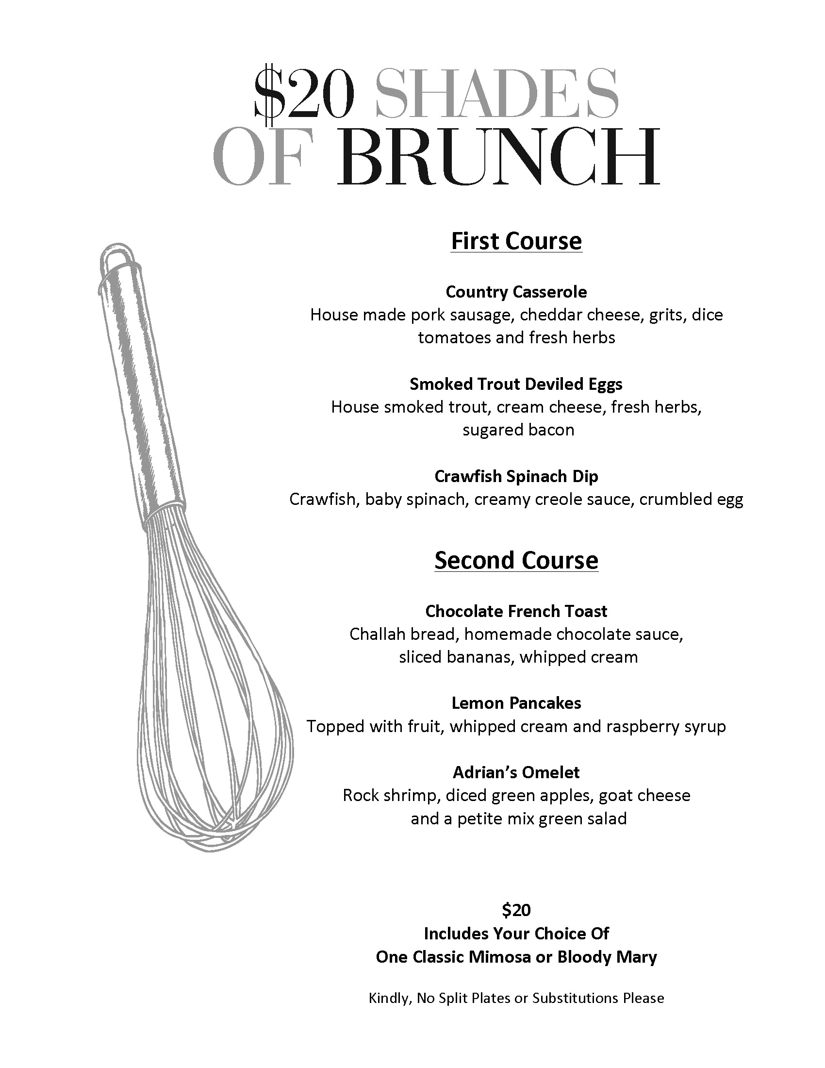 July $20 Shades of Brunch Menu