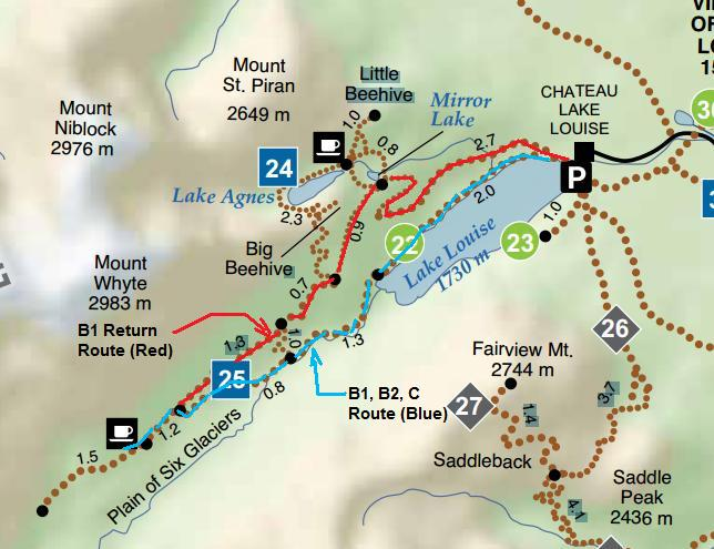lake agnes teahouse hike map Banff National Park The Plain Of Six Glaciers Sc lake agnes teahouse hike map