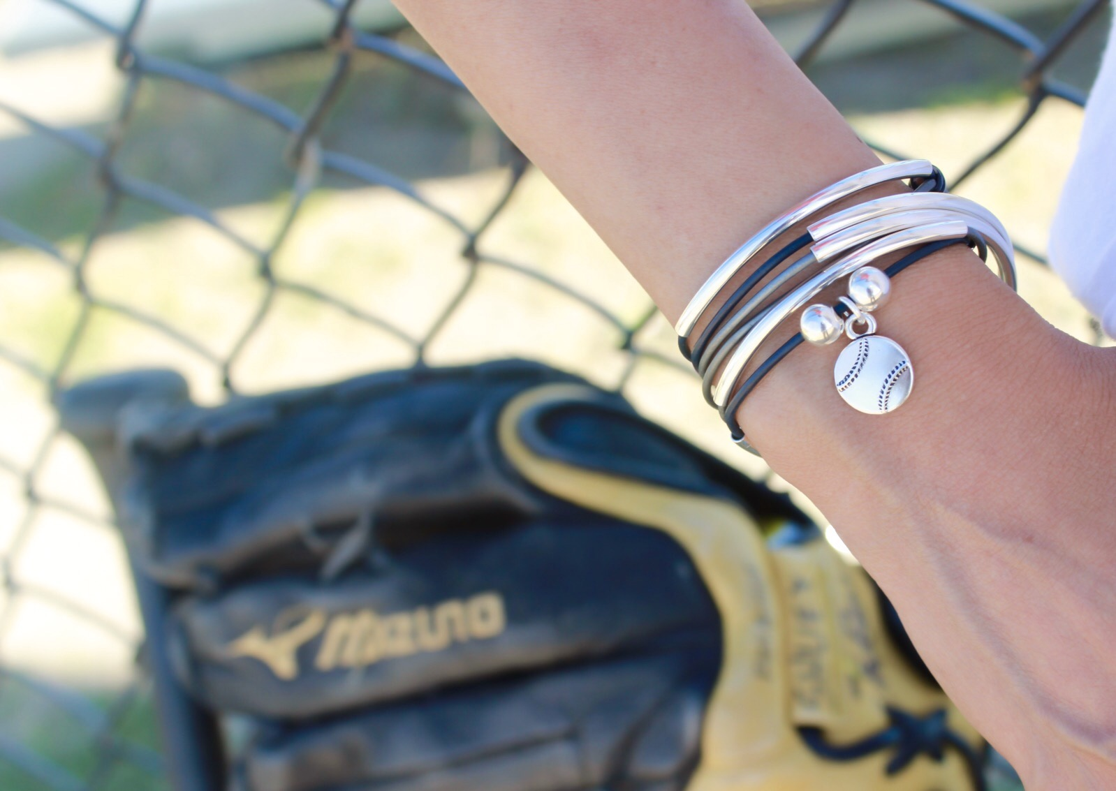 Girlfriend Wrap  in Navy Blue and Silver Leather with   Baseball Charm . Perfect for supporting your favorite little league team!