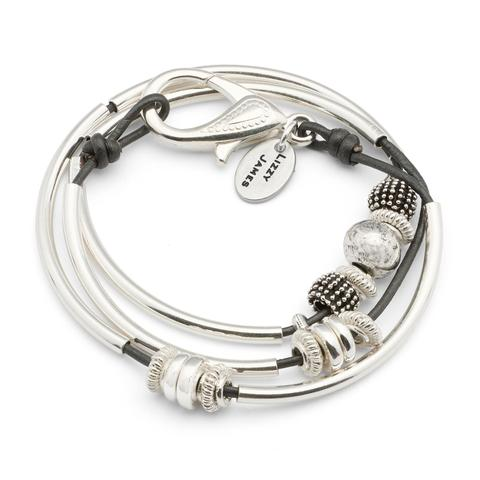 The  Ginger Silverplate  single strand wrap bracelet is shown in metallic gunmetal leather.