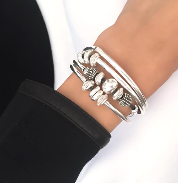 The  Ginger Silverplate  single strand wrap bracelet.