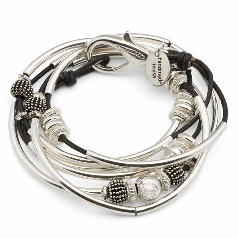 The  Ginger Silverplate 2 strand  leather wrap bracelet in natural black leather.