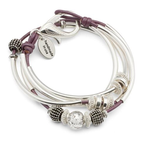 This  Mini Ginger Silverplate  wrap bracelet is shown in metallic berry leather.