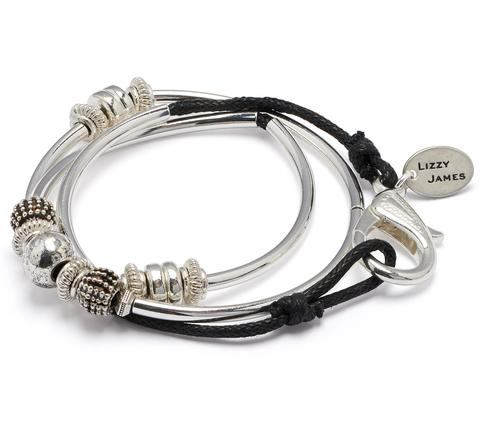 The  Ginger Silverplate Cotton Cord  wrap bracelet displayed in organic, black cotton cord.