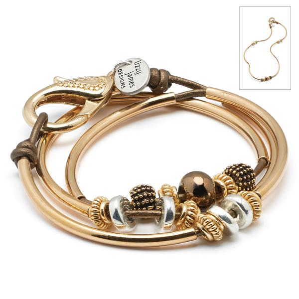 The  Ginger Goldplate  leather wrap bracelet can be worn as a bracelet or necklace.