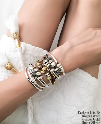 The  Ginger  wrap bracelet looks great stacked in  Silver  and  Gold .