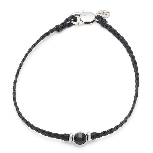 The  Luna Choker  necklace is a single strand braided leather choker style necklace.