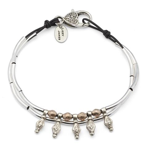 The  Diamond Anklet  is adorned with mixed metal beads and diamond shaped charms.