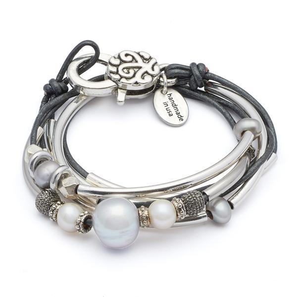 The Princess  wrap bracelet shown in metallic gunmetal leather.
