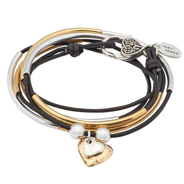 Girlfriend Wrap with 2 Heart Charms in Silver & Gold  shown in natural black leather.