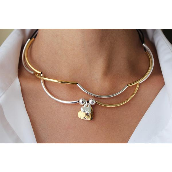 The  Girlfriend Wrap with 2 Heart Charms in Silver & Gold  looks great as a necklace.