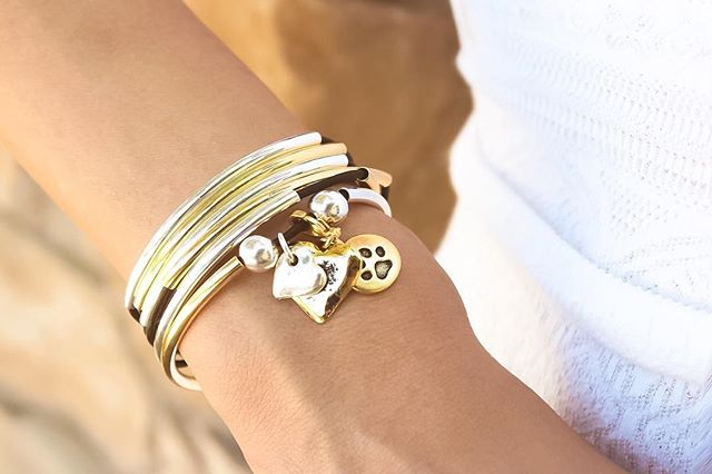 The  Girlfriend Wrap with 2 Heart Charms in Silver & Gold  looks so cute with added  Round Paw  charm.