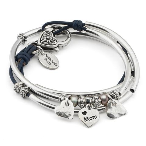 Mini Charmer with Heart Charm Trio  shown in gloss navy leather.