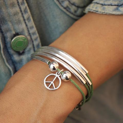 Mini Friendship  in cotton cord with peace sign charm.