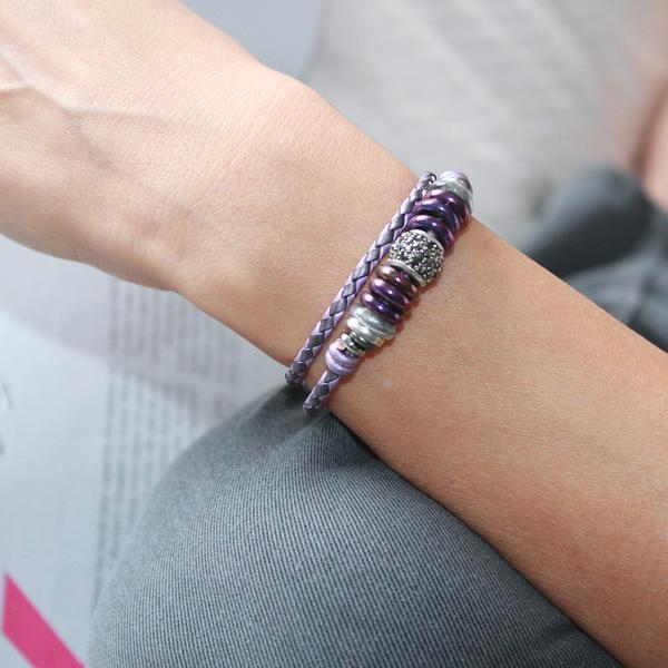 The beautiful  Mini Juliette  shown in purple braided leather.