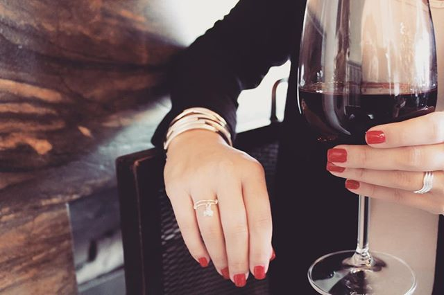 Pamper you and your mom to some wine and polished nails. Don't for to complete your after-spa look with the   Sterling Silver Triplet Ring  paired with the  Lizzy Classic Silverplate 4 Strand .